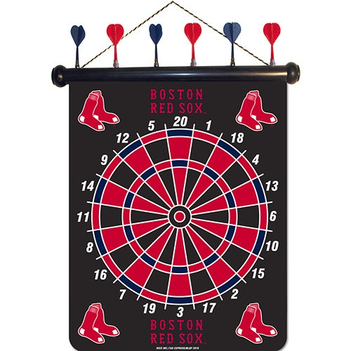 Boston Red Sox Magnetic Darts: These magnetic dart boards offer all the fun and playability of regular darts with none of the damage to the wall surrounding the dart board! The game includes a magnetic hanging gameboard and 6 magnetic darts (3 of each 2 colors).  $29.99  http://www.calendars.com/Boston-Red-Sox/Boston-Red-Sox-Magnetic-Darts/prod1289075/?categoryId=cat00419=cat00419#