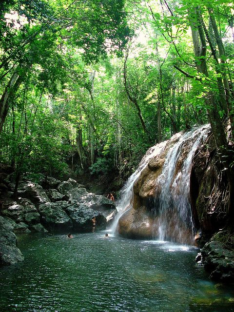 Hot thermal waters at Finca Paraiso Waterfall in Izabal, Guatemala - Looks gorgeous, though you might not want hot springs in the jungle :L