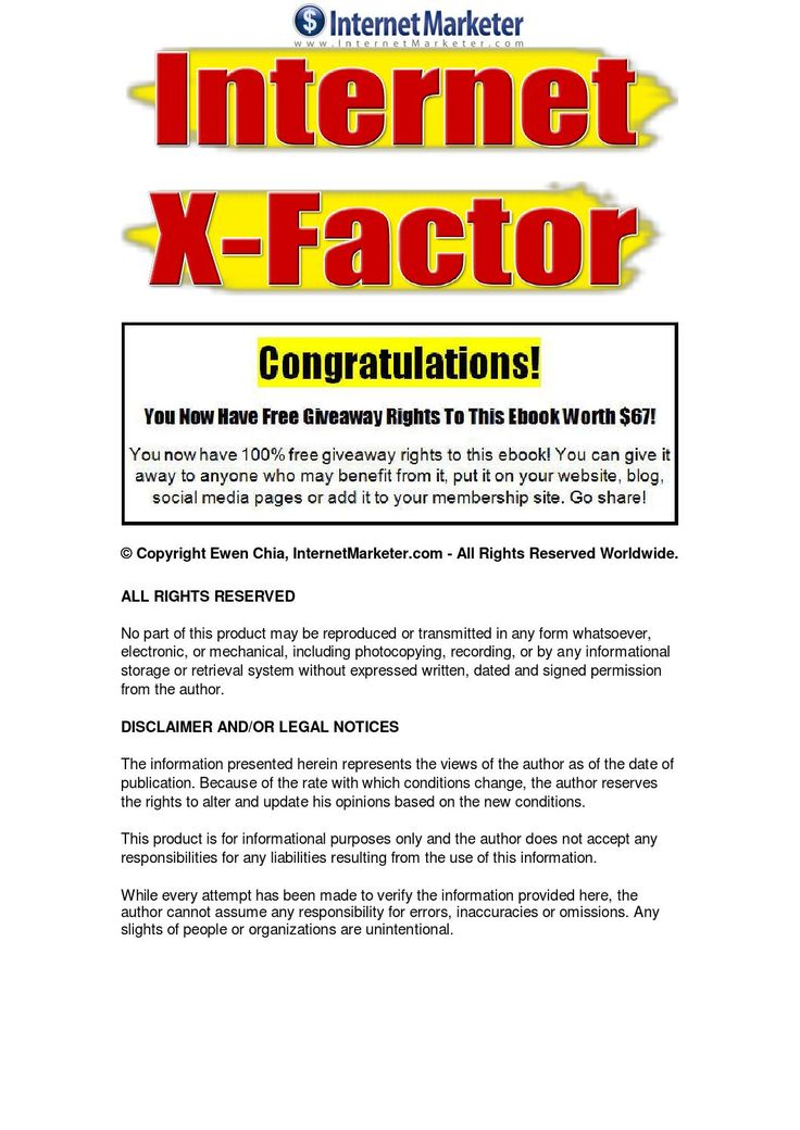Internet X-Factor Internet X-Factors to running a home internet business - Learn the critical factors of a successful home internet business.