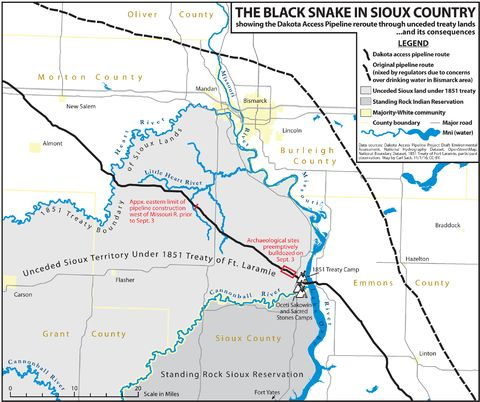 """A map of the original and current routes of the Dakota Access Pipeline, by Carl M. Sack, a geographer and cartographer at the University of Wisconsin. For a large printable printable version of the map, <a href=""""http://northlandia.com/maps/dapl/DAPL_Routes_Map.tif"""">click here</a>."""