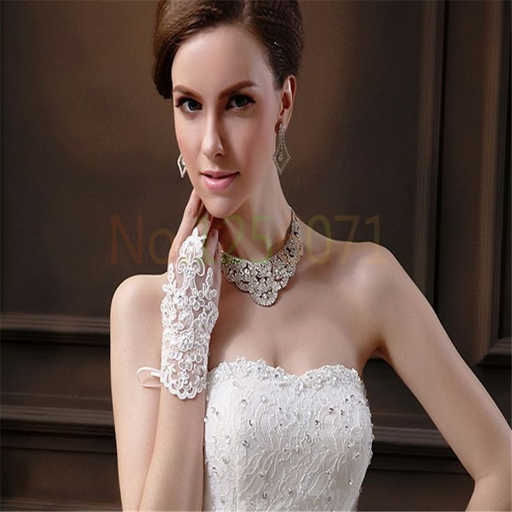 Невеста перчатки бисером кружевные перчатки крючком пальцев свадебные перчатки Дешевые перчатки короткие свадебные перчатки