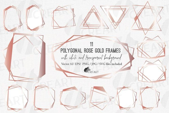 Download Polygonal Geometric Rose Gold Frames Chaotic Lineal Borders 765610 Illustrations Design Bundles In 2020 Geometric Rose Rose Gold Frame Gold Frame