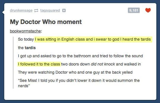 Doctor Who moment…