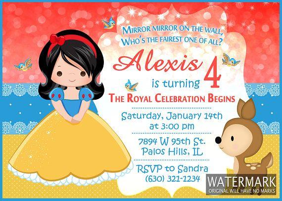 Snow White Invitation Princess Birthday Card Blancanieves Y