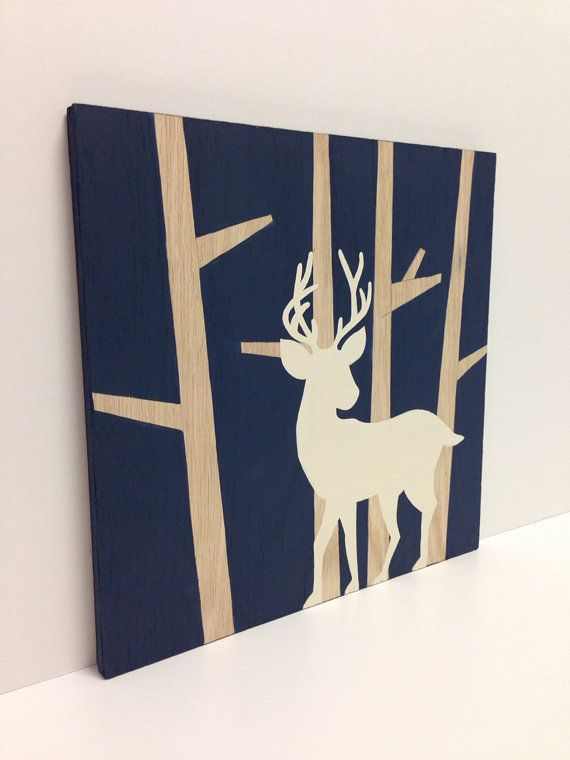 Hand painted woodland nursery art navy blue and white for Boys wall art