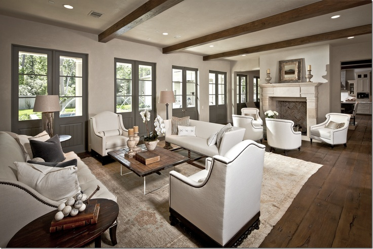 doors - Sherwin Williams Anonymous; walls - SW Ermine: The Doors, Floors Plans, Living Rooms, Houses, French Doors, Beams, Accent Chairs, Doors Colors, White Wall