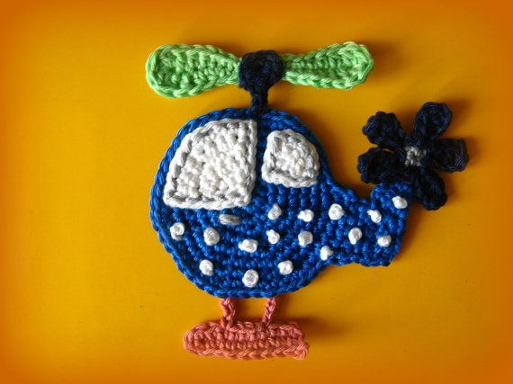 Helicopter Crochet Appliqué Pattern by CrochAnna on Etsy