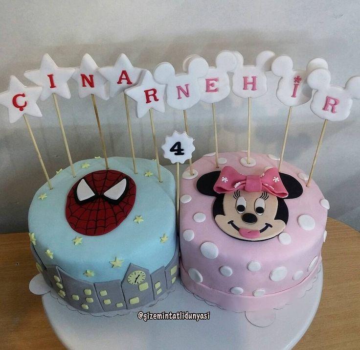 "51 Beğenme, 4 Yorum - Instagram'da Butik Pasta / Kurabiye🍪🍰 (@gizemintatlidunyasi): ""Ikizlerin biri Minnie Mouse biri Spiderman pasta isterse #minniemousecake #spidermancake…"""