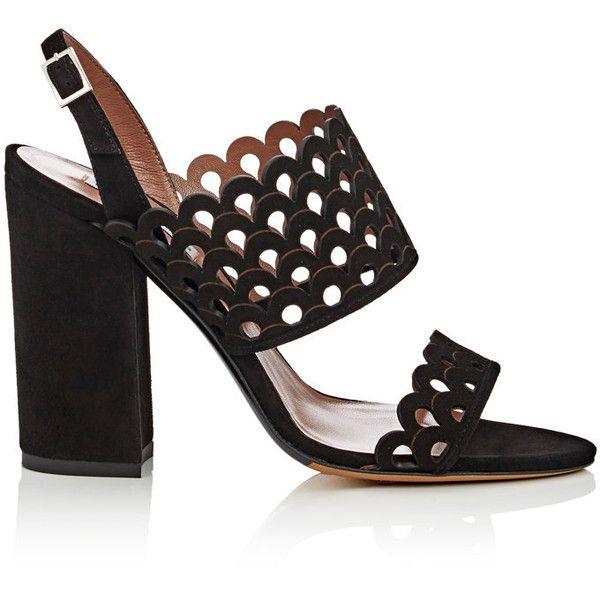 Tabitha Simmons Women's Ilma Laser-Cut Suede Slingback Sandals (3.310 RON) ❤ liked on Polyvore featuring shoes, sandals, chunky heel sandals, black shoes, slingback sandals, black high heel sandals and black buckle sandals