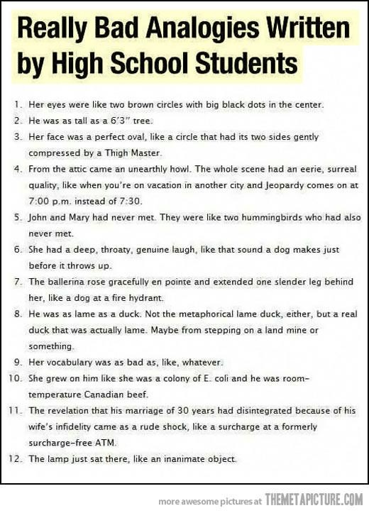 really bad analogies written by high school students great examples of what to avoid but so funny humor pinterest high school students