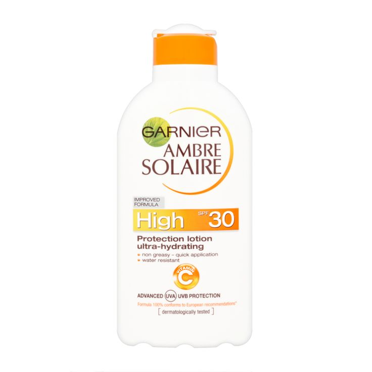 Garnier Ambre Solaire SPF30 Moisturising Protection Milk  – SPF30 is good for the first few weeks in the sun