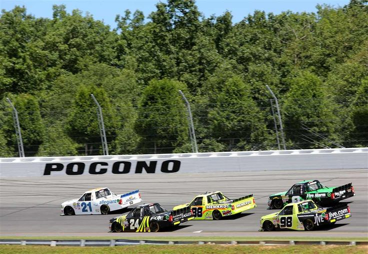 At-track photos: Pocono, Iowa Sunday, July 30, 2017 No. 21 Johnny Sauter and No. 24 Justin Haley lead a pack of trucks during the NASCAR Camping World Truck Series Overton's 150 at Pocono Raceway. Photo Credit: Photo by Jerry Markland/Getty Images Photo: 45 / 67