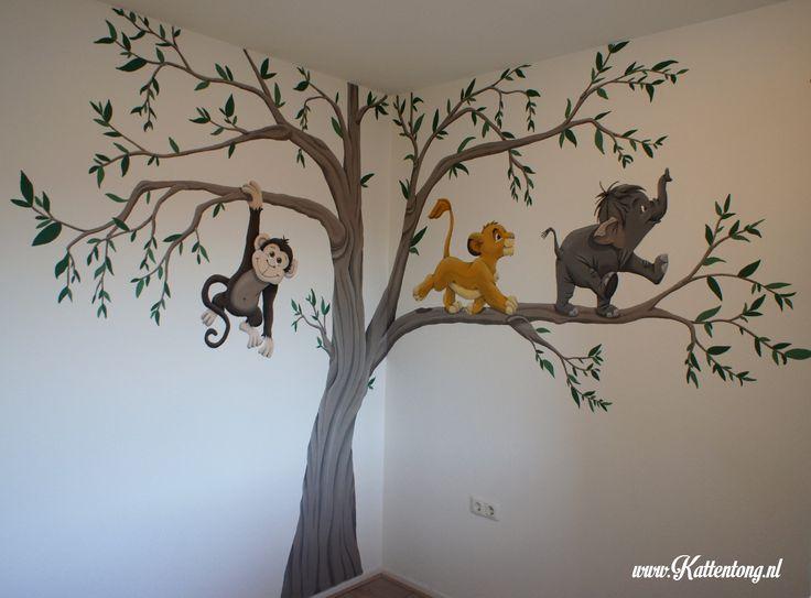 Muurschildering babykamer - Kattentong.nl