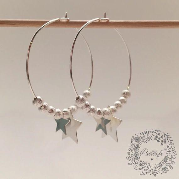 Découvrez Mes Boucles d'Oreilles argentées Big Stars (grand modèle) by Palilo sur alittleMarket
