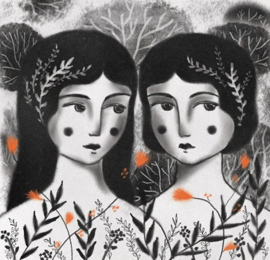 Sisters, charcoal illustration by Daniela William
