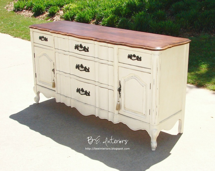 Love these refinished buffets. Like the stained top with the creamy ivory painted bottom - perfect combo.