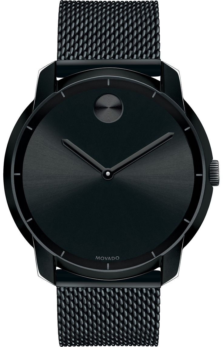 Movado Bold - Large Movado BOLD watch, flat 44 mm black ion-plated stainless steel case, black sunray dial with matching black sunray dot and hands, black ion-plated stainless steel mesh-link bracelet with mesh-textured back sizing links and deployment clasp, K1 crystal with metallized printed minute track, Swiss quartz movement, water resistant to 30 meters.