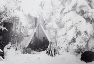 old fashion winter camping  camel's hump