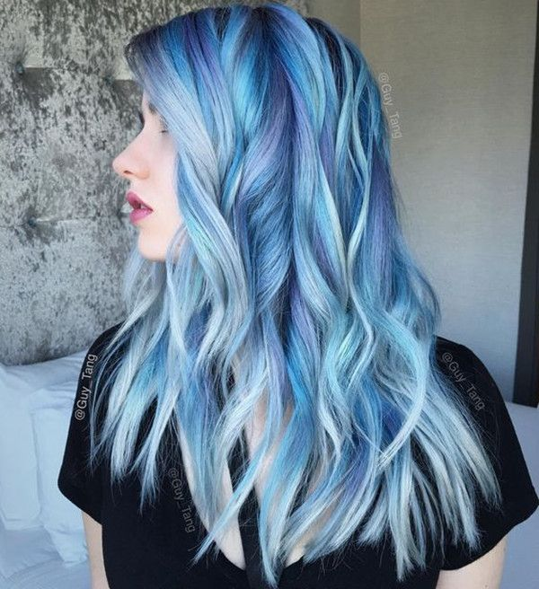 Wavy blue lob hairstyle with beautiful highlight, my favorite hair color for…