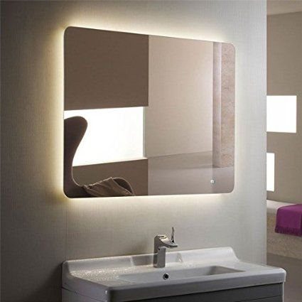 Horizontal LED Lighted Vanity Backlit Bathroom Silvered Mirror With Touch Button Make Up Wall