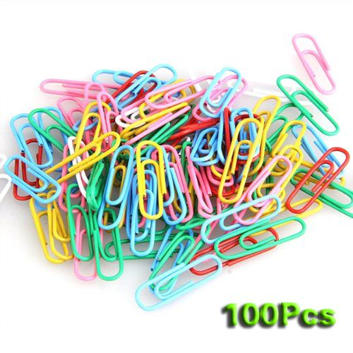 SOSW-100 pcs Paper Clips Staple Files Parentheses Multi 0.8 cm 2.8 cm Stained