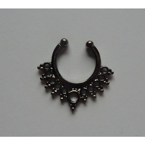 Fake septum ring, fake crystal titanium septum ring, black fake nose... ❤ liked on Polyvore featuring jewelry, rings, artificial jewelry, artificial jewellery, crystal rings, crystal jewellery and imitation jewelry