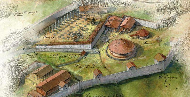 Hypothetical reconstruction of Sarmizegetusa Regia. Zona Sacra. Desen de Radu Olteanu.