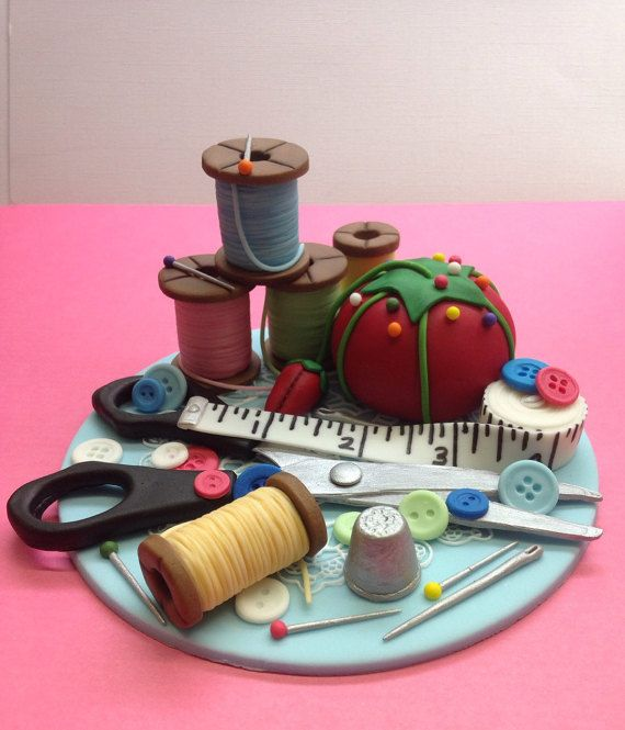 Fondant Seamstress Sewing Cake Topper Seamstress by CherryBayCakes