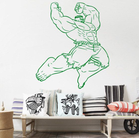 Superhero Wall Decor For Boys Bedroom Children Dorm 26 The Hulk Vinyl Wall Tattoo Art