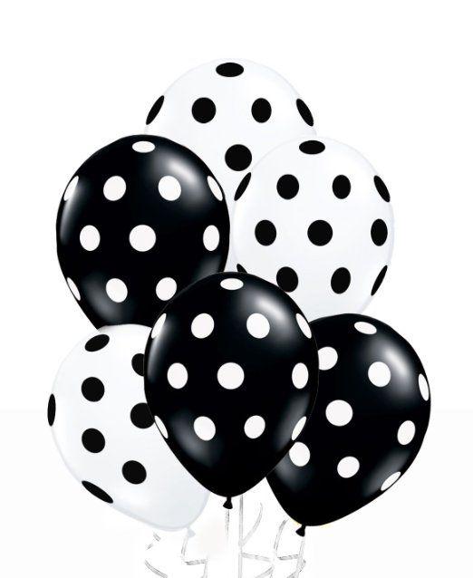 24 Assorted Black and White Polka Dot Balloons!
