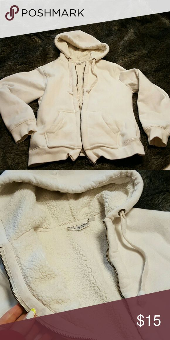 Zip up hoodie Cream zip up hoodie, with super soft fuzzy lining. Burry Lane for ladies  Jackets & Coats