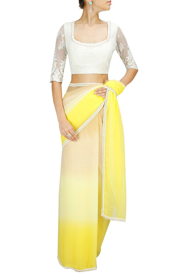 Yellow and nude ombre beaded sari or saree with ivory lace blouse BY ATSU.