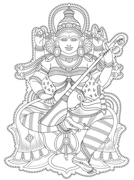 "iColor ""Goddesses"" Kerala Mural Coloring page"