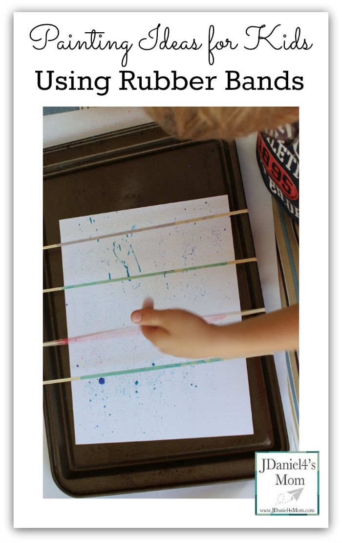 Painting Ideas for Kids Using Rubber Bands- Snapping paint with rubber band is tons of fun!