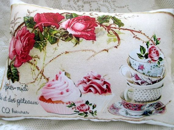 CUPCAKE TEACUPS Pillow Pink Roses French Script by ThePeonyShanty