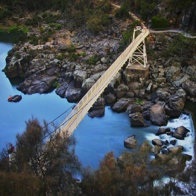 Alexandra Suspension Bridge at the Cataract Gorge in Launceston  The bridge was built in 1940 to connect the two banks of the South Esk River. #discovertasmania #launceston #cataractgorge #bridge Image Credit: meckomecky