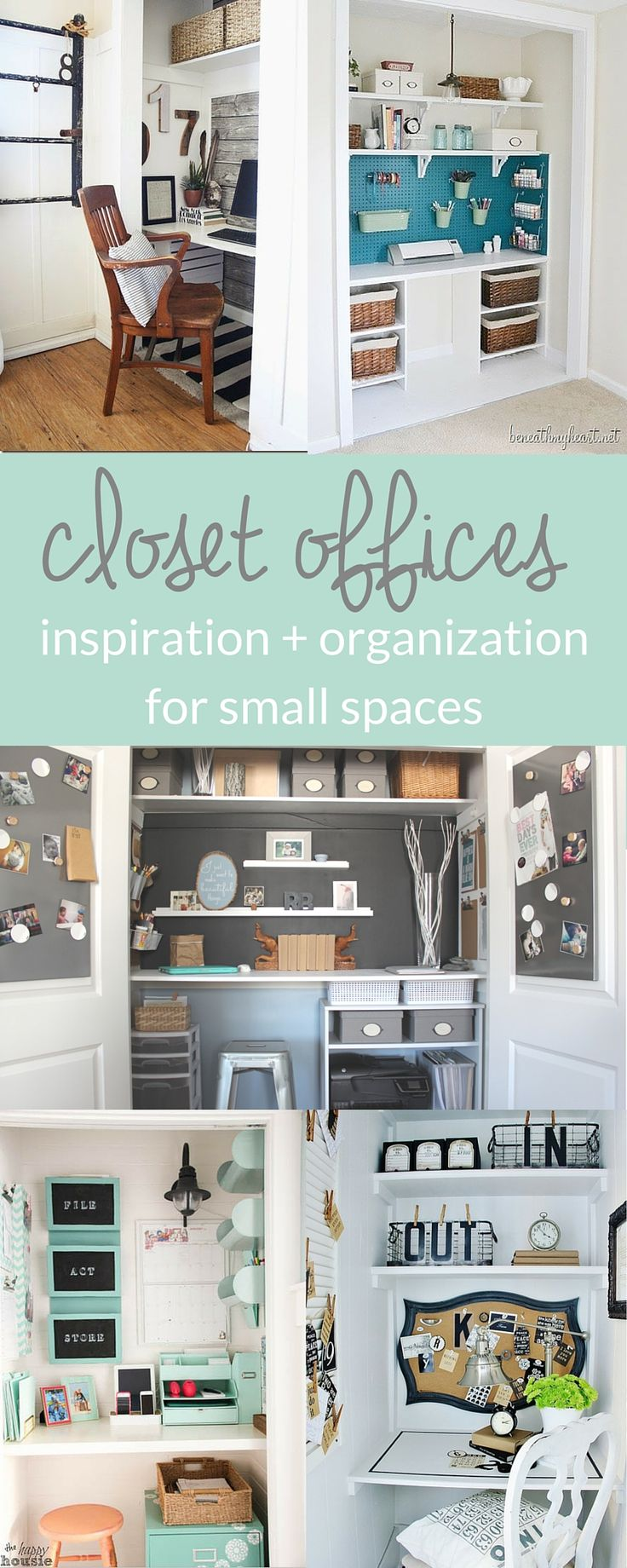 Closet Offices - Inspiration and Organization for Small Spaces. Check out these 8 small space solutions for home offices or craft rooms