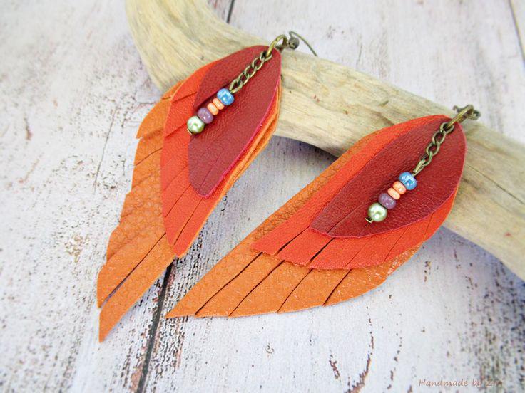 Bisutería de cuero - PENDIENTES LARGOS CUERO, pendientes rojos-naranja - hecho a mano por Zivile-1 en DaWanda