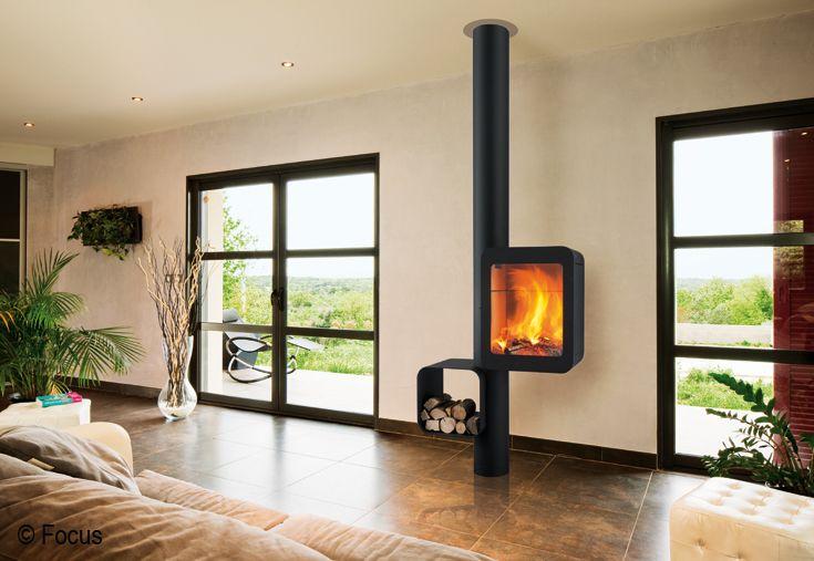 Chemin e grappus po le foyer bois ferm design contemporain po le pi - Poele design contemporain ...