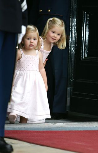 Pretty as a picture in pink, Alexia, two, and three-year-old Catharina-Amalia were full of excitement as they helped their royal dad mark his special day, which was celebrated slightly later than originally planned due to the arrival of baby sister Ariane in April. Photo: © Getty Images (09 Sept 2007)