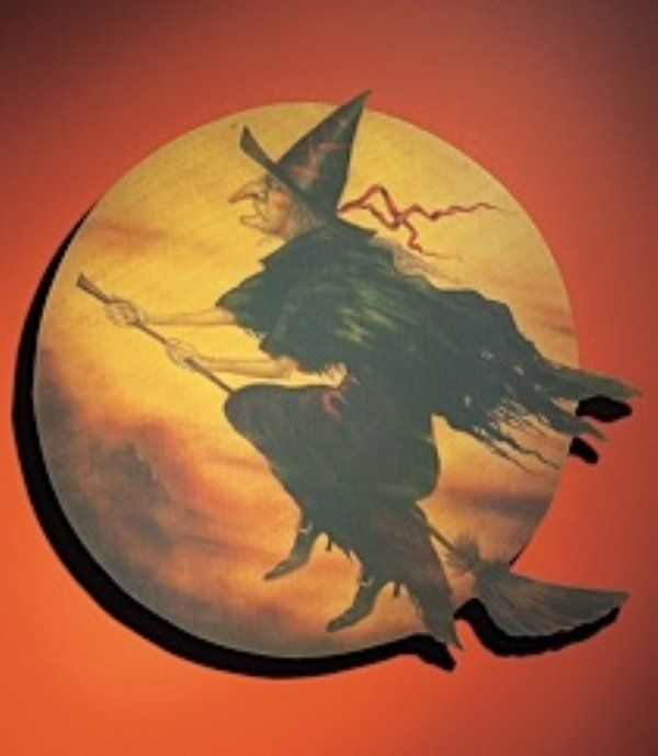 sign witch flying round halloween humorcute halloweenhalloween witchesvintage - Vintage Halloween Witches