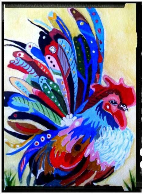 Rooster Print Of Original Painting, Stunning Print Of A Chicken Rooster. Another one of my favourite and popular paintings now in a print form. I have used quality satin paper and professional inkjet inks to print this stunning and eye catching Rooster, I have put this into a