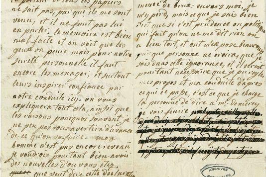 Archives nationales, 440 APLettre de Marie-Antoinetrte à Axel von Fersen.