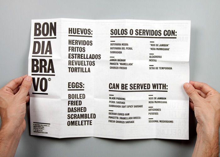 Carta restaurante Hotel W. Fuerza tipo. Clase.