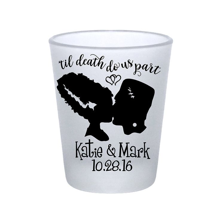 "100x Frosted Shot Glasses Gothic Personalized Halloween Wedding Favors | 1.75 oz | Til Death Do Us Part (2A) Frankenstein | by ""ThatWedShop"" on Etsy 