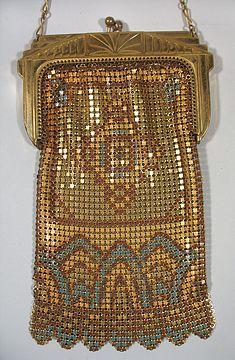 1920s Whiting & Davis Enamel Mesh Art Deco Style Vintage Purse in Gold