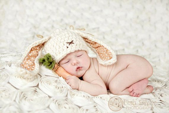 Baby Bunny Hat  Newborn Photo Prop  Easter Bunny Hat by bitOwhimsy, $38.00