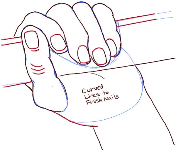how to draw a hand holding something step by step