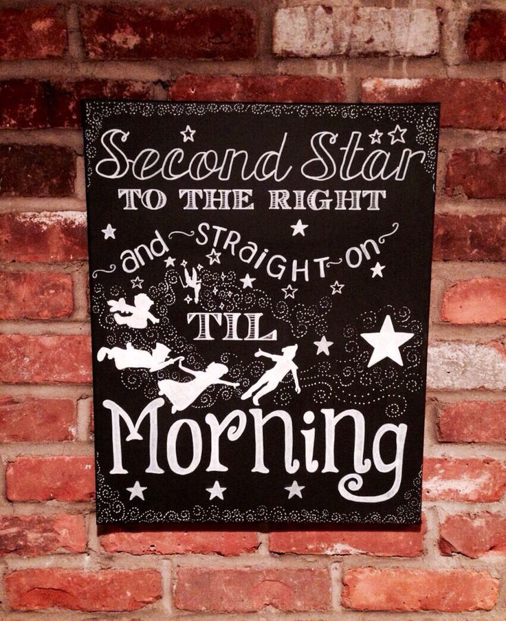 Hand Painted Second Star to the Right Chalkboard Canvas Art - Peter Pan inspired 16x20 inch canvas -NOT A PRINT - Nursery Decor, Baby Shower by mylittlemidge on Etsy https://www.etsy.com/listing/155618121/hand-painted-second-star-to-the-right