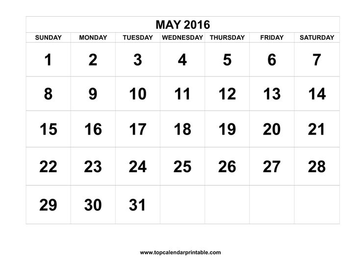 Download May 2016 Calendar Printable with federal holidays and week number as MS Word, PDF and JPG in US letter paper format.